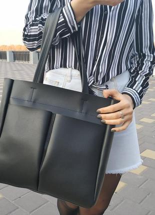 Вместительная сумка из экокожи для документов