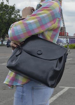 Вместительная кожаная сумка-кроссободи , ручка+цепочка