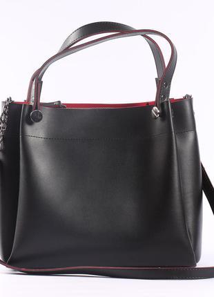 Красивая вместительная сумка на длинной ручке-черная с красным