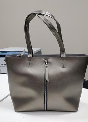 Вместительная сумка из экокожи, серебро