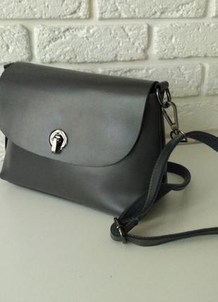 Кожаная сумка средняя, серый цвет