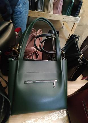 Красивая вместительная сумка из экокожи,зеленая