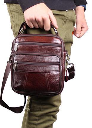 Качественная мужская сумка кожаная (коричневая)