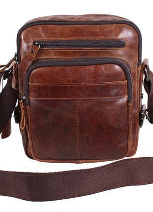 Мужска кожаная сумка коричневая в винтажном стиле