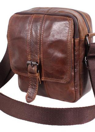 Шикарная мужская кожаная сумка в винтажном стиле (коричневая)