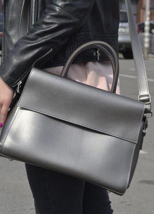 Удобная вместительная сумка-саквояж на длинной ручке, серая