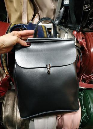 Кожаный сумка-рюкзак (трансформер) темно-серый