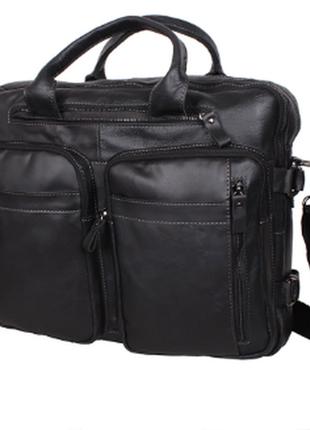 Современный кожаный мужской портфель, сумка  черная (шикарное ...
