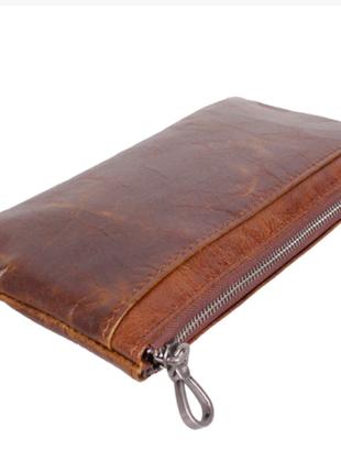 Классный коричневый кошелек винтажный (натуральная кожа)