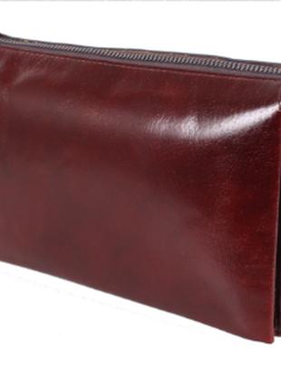 Добротный мужской клатч коньячного цвета - натуральная кожа