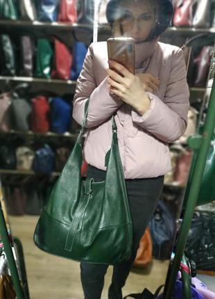 Удобная кожаная сумка-мешок