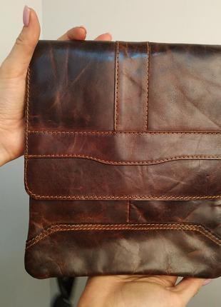 Премиум качество, мужская кожаная сумка коричневая