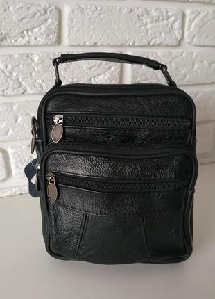 Кожаная мужская сумка на длинной ручке
