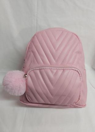 Милый рюкзак розовый, брелок в комплекте