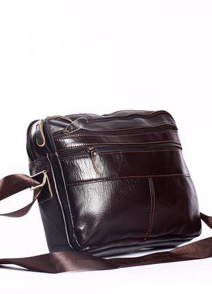 Кожаный мужской портфель, сумка для  документов-много отделений