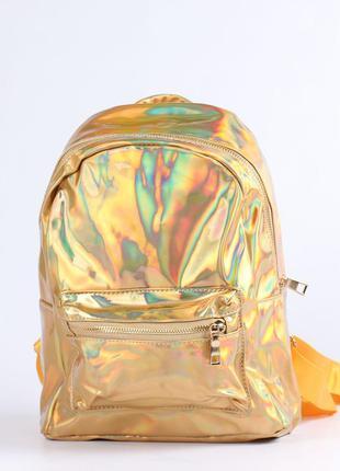 Модный голографический рюкзак золотой