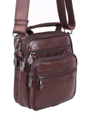 Мужская кожаная сумка мини коричнева, сумка на пояс