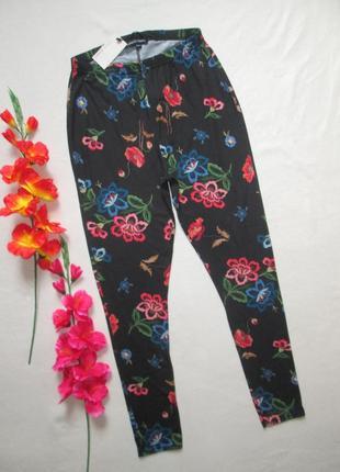 Шикарные стрейчевые лосины леггинсы принт вышивки в цветочн...