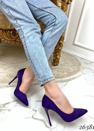 Темно-синие туфли на каблуке, лодочки