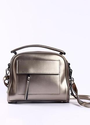 Красивая кожаная сумка на длинной ручке (dark silver)