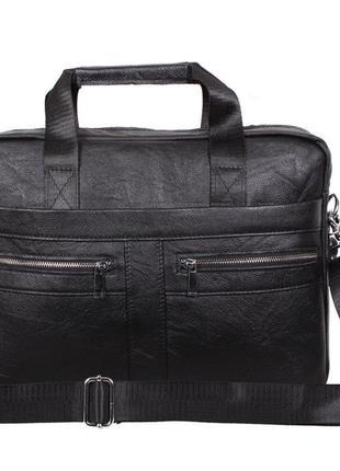 Кожаный мужской портфель, сумка для ноутбука и документов