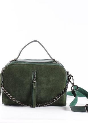 Красивая замшевая сумка зеленая