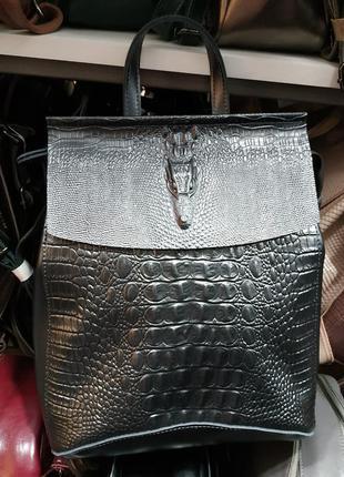 Кожаный сумка-рюкзак с тиснением аллигатора темно-серый