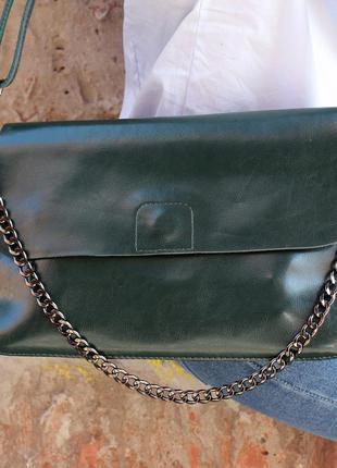 Кожаная сумка на длинной ручке зеленая (ручка+цепочка)