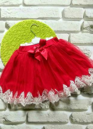 Нарядные юбки breeze с кружевом для девочек 6-11 лет