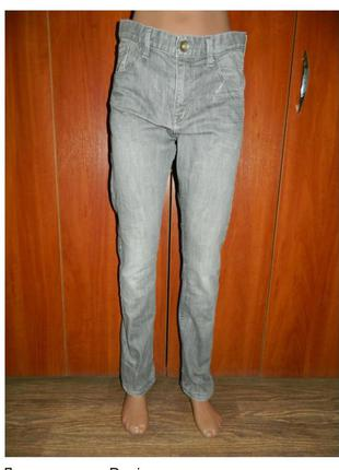 Джинсы серые denim узкие стильные на мальчика подростка 13-14 лет