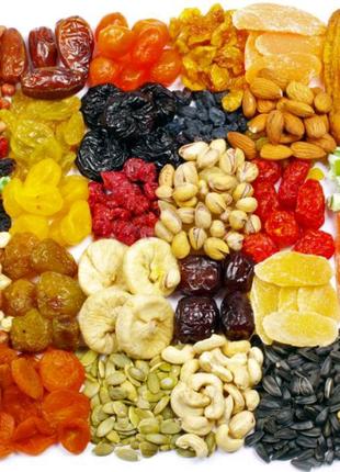 Орехи, сухофрукты, цукаты, семена,крупы