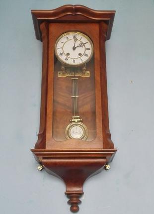 *ВИДЕО*Lenzkirch №618718 настенные часы в ореховом корпусе