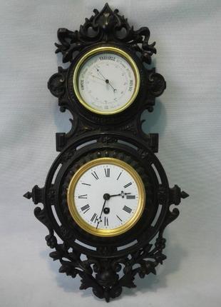ВИДЕО*50 см*Настенные французские часы с барометром XIX века
