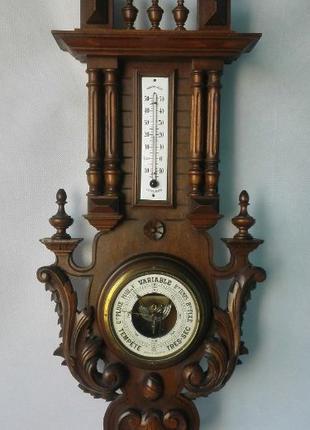 *80 см*Барометр с термометром в ореховом корпусе XIX века