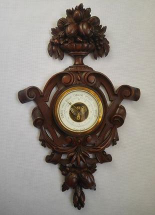 Редкий барометр в ореховом резном корпусе XIX века