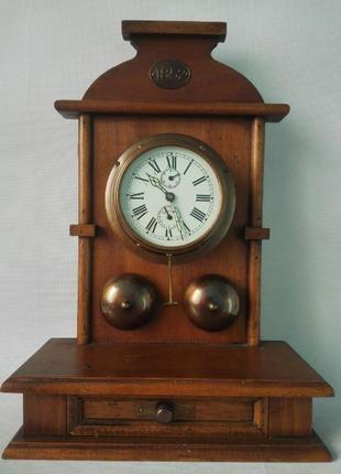 *ВИДЕО*Редкий антикварный будильник(Германия) 40х27.5 х12см