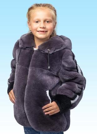 Детская зимняя курточка из натурального меха шиншиллового крол...