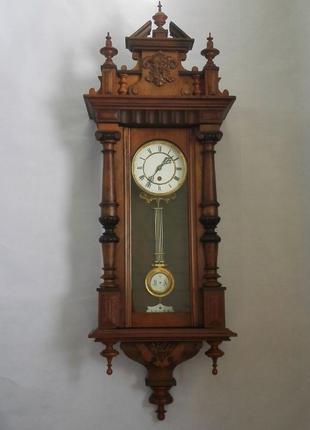 *ВИДЕО*107 см*Lenzkirch №377245 настенные часы в ореховом корпусе