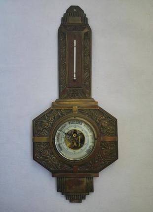 Бронзовый барометр с термометром начала ХХ века