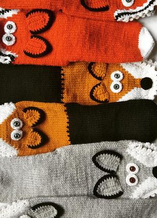 Вязаные носки Лисички Лиса