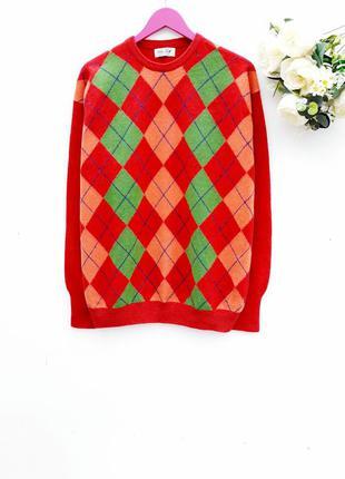 Мужской свитер шерстяный яркий свитер с ромбиками