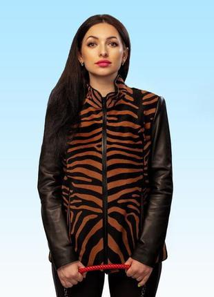 Полушубок женский из натурального меха кенгуру «тигровый принт»