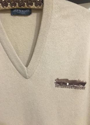 Классический свитер lyle&scott 100%шерсть свитшот пуловер
