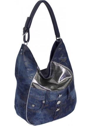 Сумка женская комбинация парча + джинсовая ткань синяя, голуба...