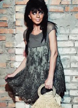 Платье короткое кружевное ажурное мини туника сетка болотное