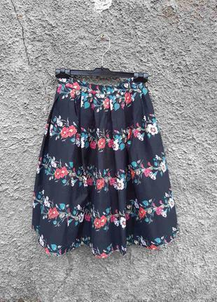 Пышная черная юбка цветочный принт хлопковая