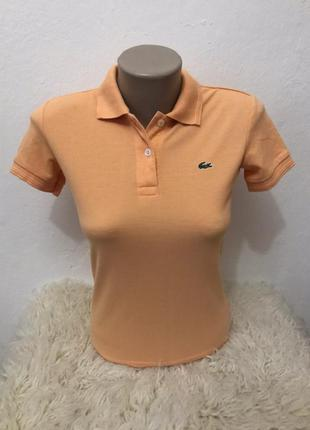 Оригинальная женская футболка поло lacoste. размер s