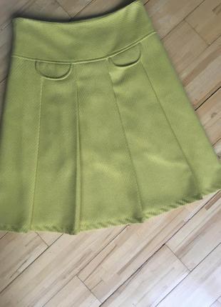 Шерстяная юбка лимонного цвета
