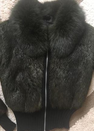 Шубка-куртка из натурального меха (нутрия стриженая + песец) t...