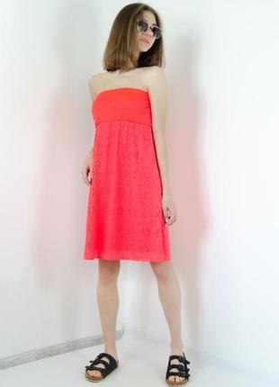 Calzedonia неоновое яркое пляжное платье-бандо с ажурным низом...
